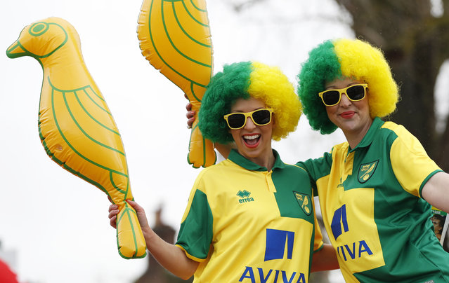 Football Soccer, Norwich City v Sunderland, Barclays Premier League, Carrow Road on April 16, 2016: Norwich fans pose outside the ground before the game. (Photo by Paul Childs/Reuters/Action Images)