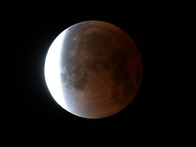 The moon is seen as it emerges from a total lunar eclipse in Miami, Florida. (Photo by Joe Raedle/Getty Images)