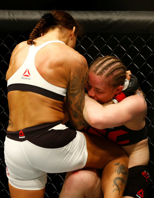 Mixed Martial Arts, UFC Fight Night, Germaine de Randamie vs Anna Elmose on May 8, 2016: Germaine de Randamie kicks Anna Elmose. (Photo by Michael Kooren/Reuters)