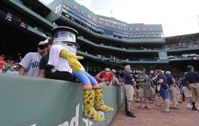 As pre-game activity begins, hitchBOT rests on the wall along the first base line before a baseball game at Fenway Park between the Boston Red Sox and Detroit Tigers in Boston, Friday, July 24, 2015. The robot's hitchhiking journey across the United States took a detour to Fenway. (Photo by Charles Krupa/AP Photo)