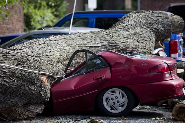 A downed tree lays atop a crushed car Wednesday, July 9, 2014, in Philadelphia. About 228,000 homes and businesses across Pennsylvania remain without power after severe thunderstorms raced across the state. (Photo by Matt Rourke/AP Photo)
