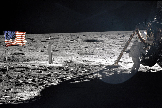 This July 20, 1969 file photo provided by NASA shows Apollo 11 astronaut Neil Armstrong on the lunar surface. Apollo 11 astronauts trained on Earth to take individual photographs in succession in order to create a series of frames that could be assembled into panoramic images. This frame from Aldrin's panorama of the Apollo 11 landing site is the only good picture of mission commander Neil Armstrong on the lunar surface. (Photo by AP Photo/NASA)