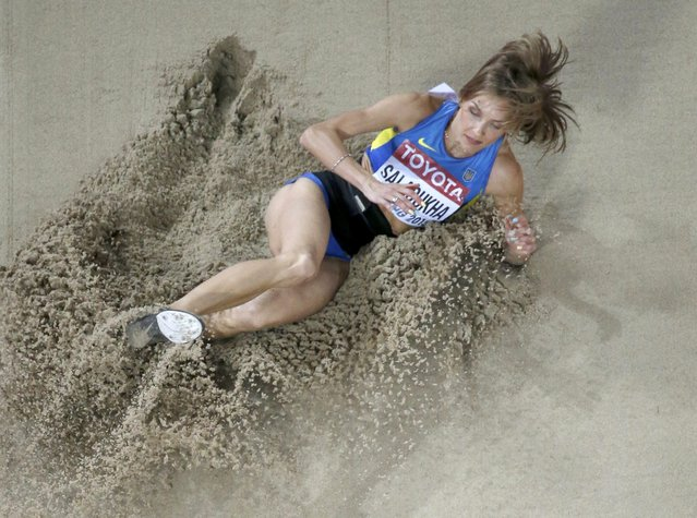 Olga Saladukha of Ukraine competes in the women's triple jump final during the 15th IAAF World Championships at the National Stadium in Beijing, China August 24, 2015. (Photo by Fabrizio Bensch/Reuters)