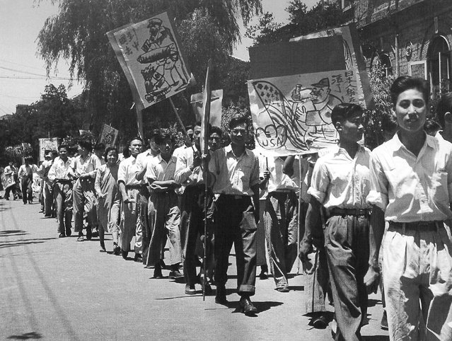 1948年6月,学生抗议美国重新武装日本。 (In June 1948, student protests, the United States re-armed Japan)