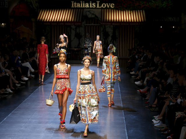 Models present creations from the Dolce & Gabbana Spring/Summer 2016 collection during Milan Fashion Week in Italy, September 27, 2015. (Photo by Stefano Rellandini/Reuters)