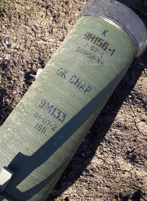 Marking is seen on a tube of a Kornet anti-tank guided missile, presumably delivered from Russia, on a battlefield near separatist-controlled Starobesheve in eastern Ukraine, October 2, 2014. (Photo by Maria Tsvetkova/Reuters)