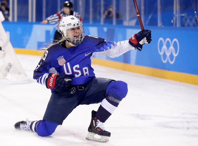 Gigi Marvin of the U.S. celebrates scoring a goal against Olympic Athletes from Russia during the Women's Ice Hockey Preliminary Round – Group A game on day four of the PyeongChang 2018 Winter Olympic Games at Kwandong Hockey Centre on February 13, 2018 in Gangneung, South Korea. (Photo by David W. Cerny/Reuters)