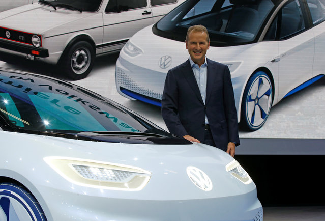 Herbert Diess, head of Volkswagen's namesake brand, attends a news conference on media day at the Mondial de l'Automobile, the Paris auto show, in Paris, France, September 29, 2016. (Photo by Jacky Naegelen/Reuters)