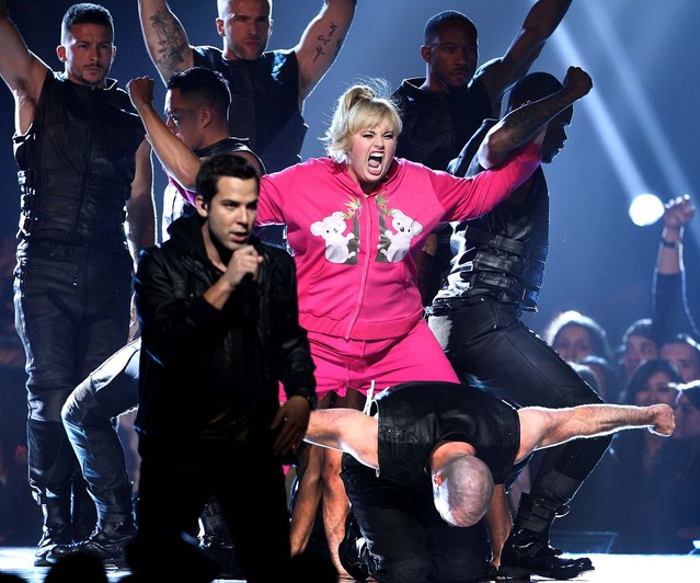 "Rebel Wilson and the cast of ""Pitch Perfect"" perform during the show. (Photo by Matt Sayles/Invision)"