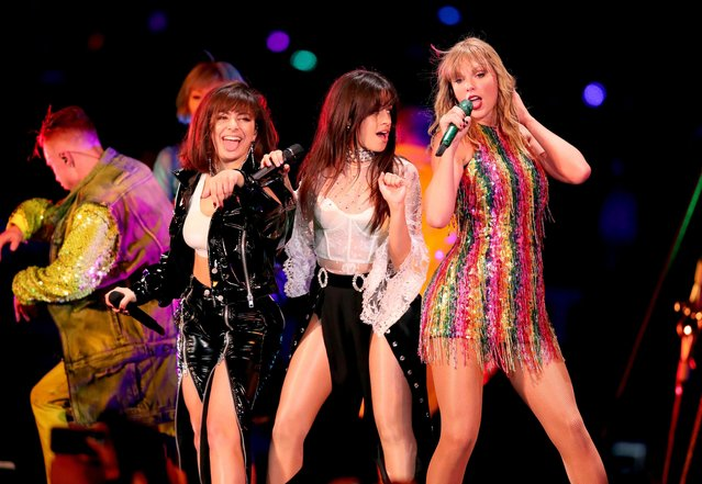 Charli XCX, Camila Cabello and Taylor Swift perform onstage during the Taylor Swift reputation Stadium Tour at the Rose Bowl on May 19, 2018 in Pasadena, California. (Photo by Christopher Polk/TAS18/Getty Images)