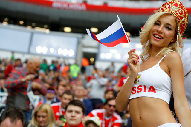 Russia fan before the group A match between Russia and Saudi Arabia which opens the 2018 soccer World Cup at the Luzhniki stadium in Moscow, Russia, Thursday, June 14, 2018. (Photo by Kai Pfaffenbach/Reuters)