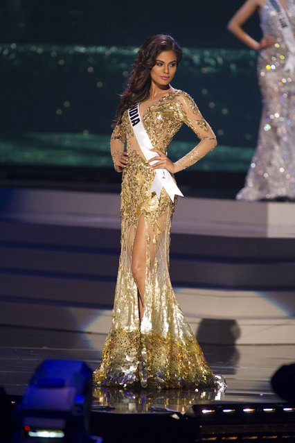 Noyonita Lodh, Miss India 2014 competes on stage in her evening gown during the Miss Universe Preliminary Show in Miami, Florida in this January 21, 2015 handout photo. (Photo by Reuters/Miss Universe Organization)
