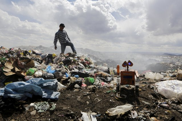 Bolivian student Esteban Quispe, 17, walks on a rubbish dump as a replica of Wall-E character is seen in Patacamaya, south of La Paz, December 10, 2015. (Photo by David Mercado/Reuters)