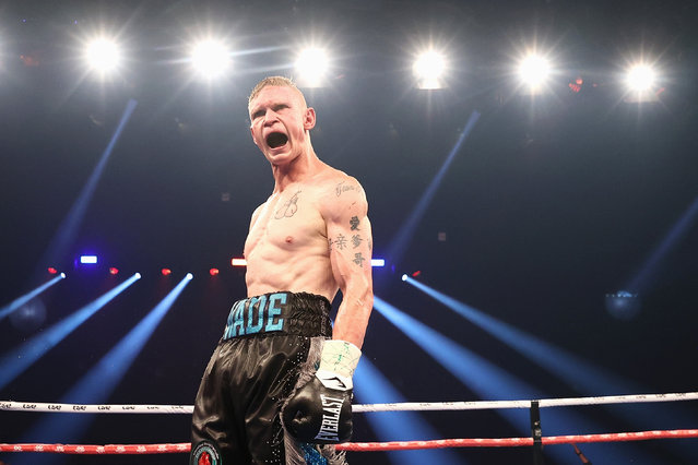 Wade Ryan celebrates winning his IBO International Super Welterweight Title Fight against Koen Mazoudier at Newcastle Entertainment Centre on March 31, 2021 in Newcastle, Australia. (Photo by Cameron Spencer/Getty Images)