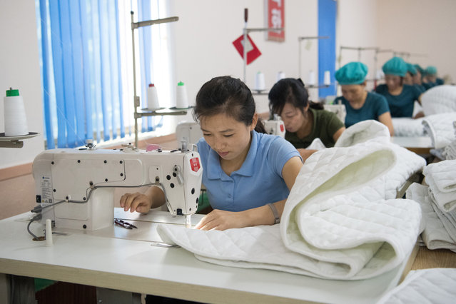 Women work sewing machines in the Kim Jong Suk Silk Factory on August 21, 2018 in Pyongyang, North Korea. (Photo by Carl Court/Getty Images)