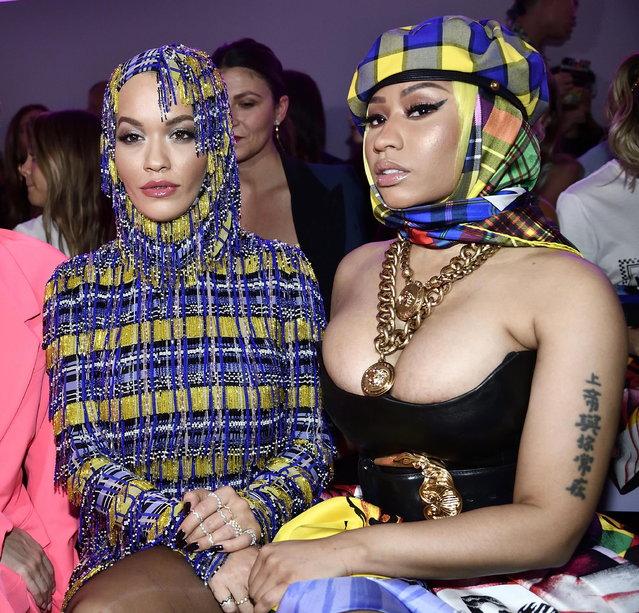 British singer Rita Ora (L) and US singer Nicki Minaj before the Versace show during the Milan Fashion Week, in Milan, Italy, 21 September 2018. (Photo by Flavio Lo Scalzo/EPA/EFE)