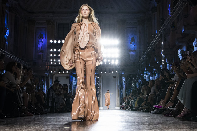 A model walks the runway at the Genny show during Milan Fashion Week Spring/Summer 2019 on September 20, 2018 in Milan, Italy. (Photo by Pietro D'aprano/Getty Images)