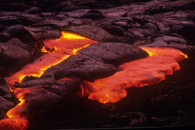 A lava field at the Kilauea volcano in Kilauea, Hawaii. (Photo by Kirk Aeder/Barcroft Media)