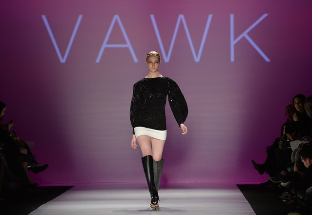 A model walks the runway for the VAWK Fall 2015 collection during Toronto fashion week in Toronto on Tuesday, March 24, 2015. (Photo by Nathan Denette/AP Photo/The Canadian Press)