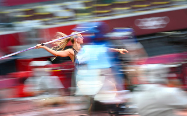 Georgia Ellenwood of Canada competes in the Javelin Throw of the Heptathlon during the Athletics events of the Tokyo 2020 Olympic Games at the Olympic Stadium in Tokyo, Japan, 05 August 2021. (Photo by Christian Bruna/EPA/EFE)