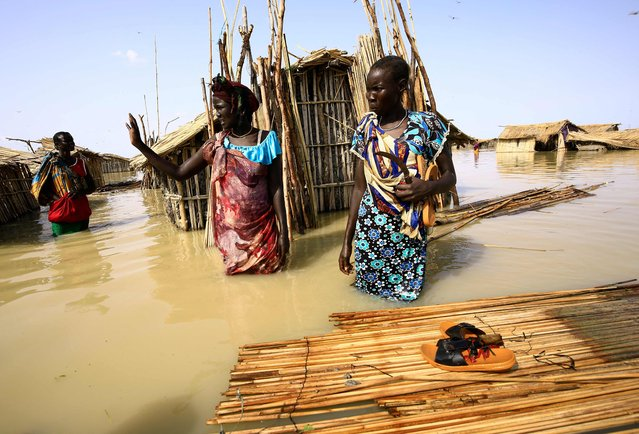 South Sudanese refugees try to repair their hut in flooded waters from the White Nile at a refugee camp which was inundated after heavy rain near in al-Qanaa in southern Sudan, on September 14, 2021. Nearly 50 villages have been submerged in southern Sudan, displacing some 65,000 people including South Sudanese refugees whose camp was inundated, the UN said in a report last week. (Photo by Ashraf Shazly/AFP Photo)