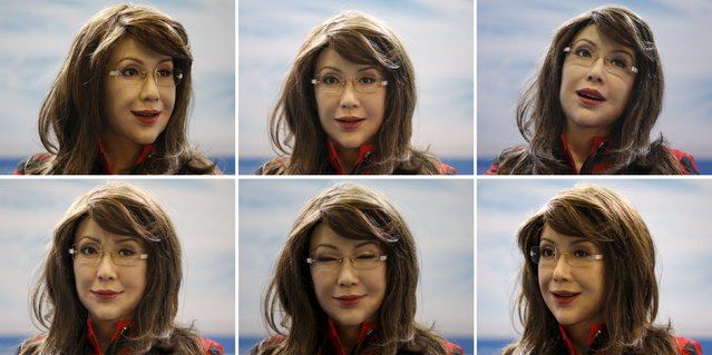 "A combination photo shows a humanoid robot named ""Yangyang"" making facial expressions during its demonstration at the Global Mobile Internet Conference (GMIC) 2015 in Beijing, China,  April 29, 2015. (Photo by Kim Kyung-Hoon/Reuters)"