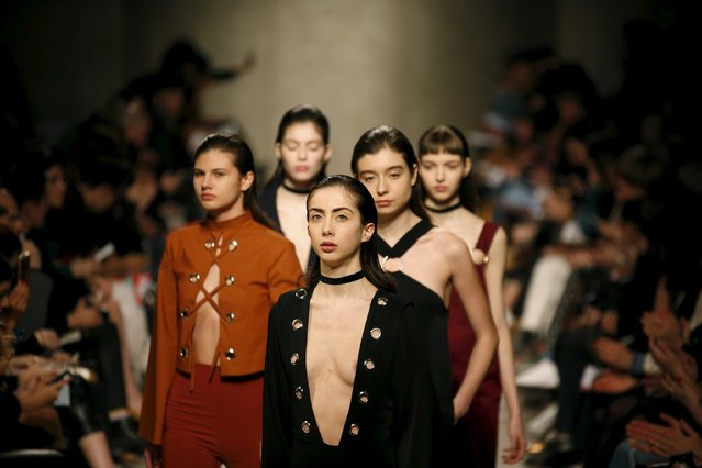 Models present creations by designer Carolina Machado, as part of her Fall/Winter 2016/17 collection, during Lisbon Fashion Week, Portugal, March 11, 2016. (Photo by Rafael Marchante/Reuters)