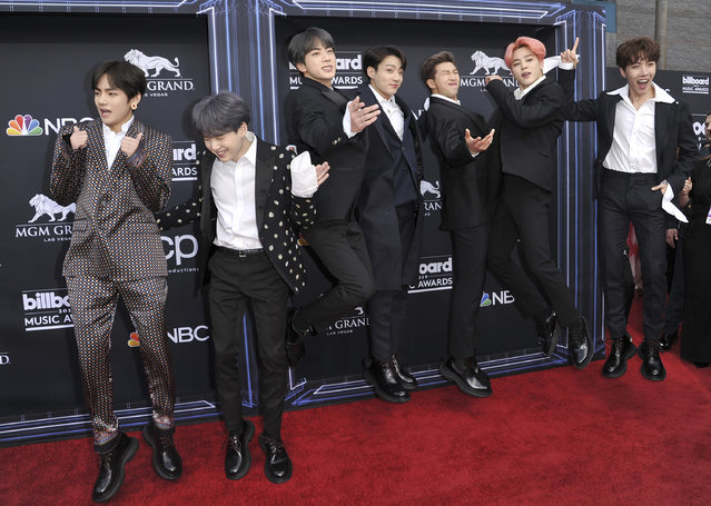 BTS arrives at the Billboard Music Awards on Wednesday, May 1, 2019, at the MGM Grand Garden Arena in Las Vegas. (Photo by Richard Shotwell/Invision/AP Photo)