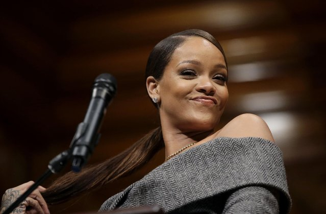 Singer Rihanna addresses an audience after being presented with the 2017 Harvard University Humanitarian of the Year Award during ceremonies, Tuesday, February 28, 2017, at the Sanders Theatre on the school's campus, in Cambridge, Mass. (Photo by Steven Senne/AP Photo)