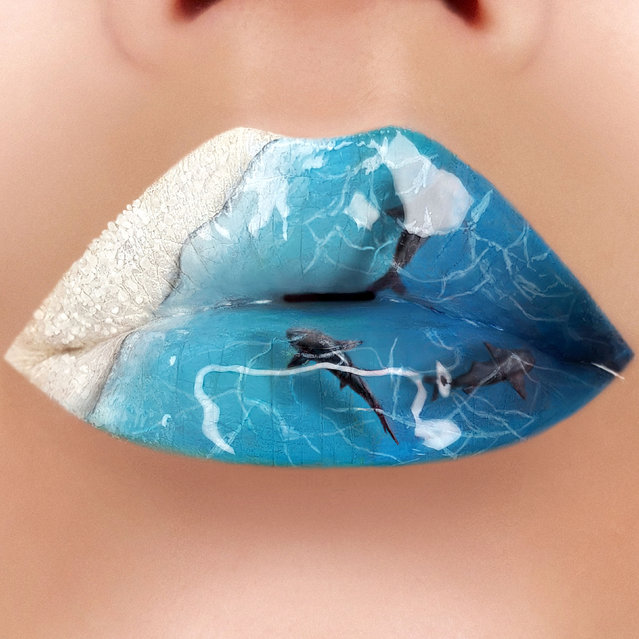 Tutushka's lipstick art work on her lips showing dolphins in the sea. (Photo by Tutushka Matviienko/Caters News Agency)