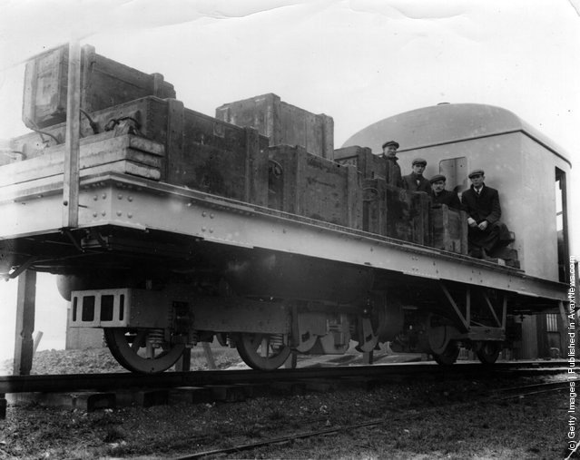 1910:  A demonstration of the Brennan Mono-rail, designed by Louis Brennan