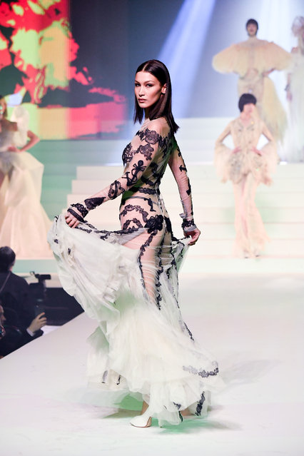 Bella Hadid walks the runway during the Jean-Paul Gaultier Haute Couture Spring/Summer 2020 show as part of Paris Fashion Week at Theatre Du Chatelet on January 22, 2020 in Paris, France. (Photo by Stephane Cardinale – Corbis/Corbis via Getty Images)