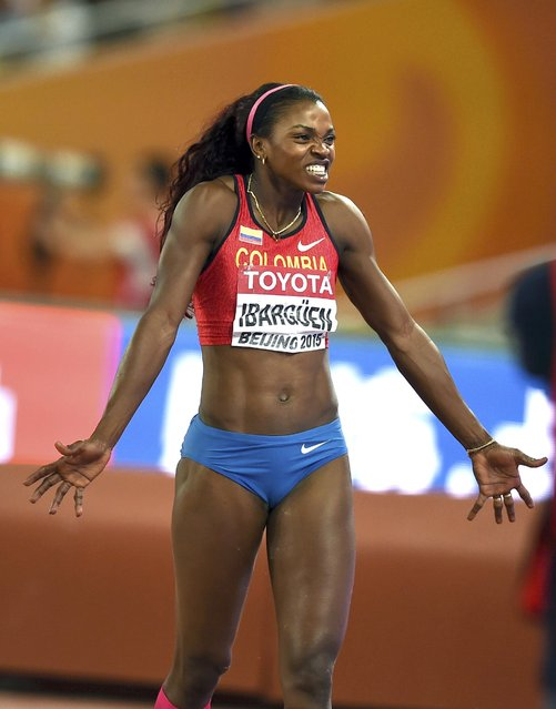 Caterine Ibargruen of Colombia reacts during the women's triple jump final during the 15th IAAF World Championships at the National Stadium in Beijing, China August 24, 2015. (Photo by Dylan Martinez/Reuters)