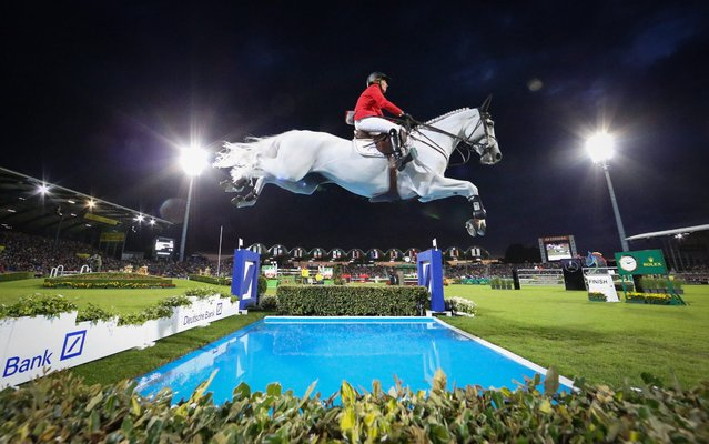 German Meredith Michaels-Beerbaum on her horse Fibonacci 17 in action during the Nations Cup at the CHIO international horse show in Aachen, Germany, 14 July 2016. (Photo by Friso Gentsch/EPA)
