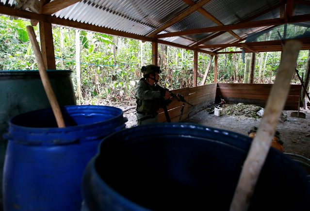 A Colombian anti-narcotics policeman guards a cocaine lab, which, according to the police, belongs to criminal gangs in rural area of Calamar in Guaviare state, Colombia, August 2, 2016. (Photo by John Vizcaino/Reuters)