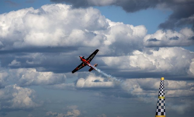 Nicolas Ivanoff of France competes in the final of the Red Bull Air Race in Ascot, England, on August 17, 2014. (Photo by Justin Setterfield/Getty Images)