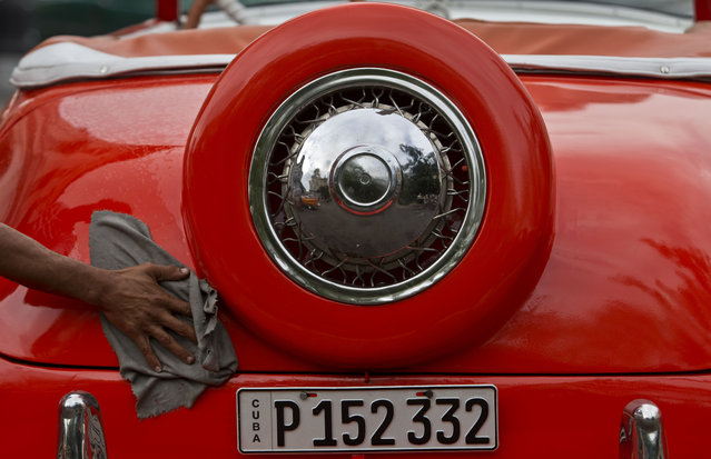 In this October 16, 2014 photo, a man cleans his American classic car before going to work in Havana, Cuba. While the U.S. embargo that took effect in 1961 stopped the flow of new cars, and most parts, a few Cubans now manage to bring in replacement parts when friends or family visit from the U.S. (Photo by Franklin Reyes/AP Photo)