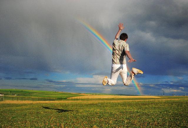 """Jumpology"". ""Pierced by rainbow"". (Photo by Betuel H.)"