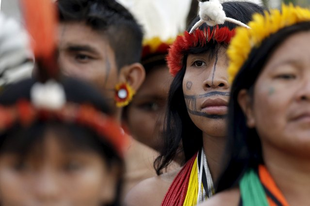 Indigenous people from several tribes are pictured at the sports arena during the first World Games for Indigenous Peoples in Palmas, Brazil, October 25, 2015. (Photo by Ueslei Marcelino/Reuters)