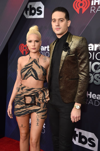Halsey (L) and G-Eazy arrive at the 2018 iHeartRadio Music Awards which broadcasted live on TBS, TNT, and truTV at The Forum on March 11, 2018 in Inglewood, California. (Photo by Kevin Mazur/Getty Images for iHeartMedia)