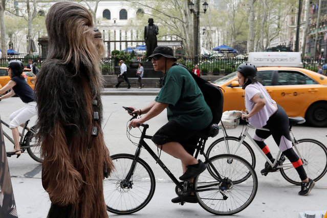 """A person dressed as the Chewbacca character stands on a sidewalk as bicycle commuters pass by on 6th Avenue during a promotion for the upcoming film """"Solo: A Star Wars Story"""" in Manhattan in New York City, New York, U.S., May 4, 2018. (Photo by Mike Segar/Reuters)"""