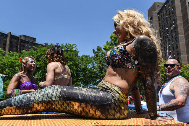 People participate in the 36th annual Mermaid Parade in Coney Island on June 16, 2018 in New York City. (Photo by Stephanie Keith/Getty Images)