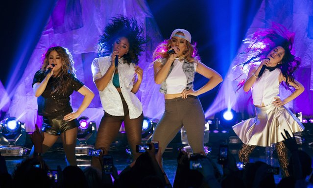 Members of the American girl group Fifth Harmony (from L-R) Ally Brooke Hernandez, Normani Kordei, Dinah Jane Hansen and Camila Cabello perform at the iHeartRadio theatre in Burbank, California, February 5, 2015. (Photo by Mario Anzuoni/Reuters)