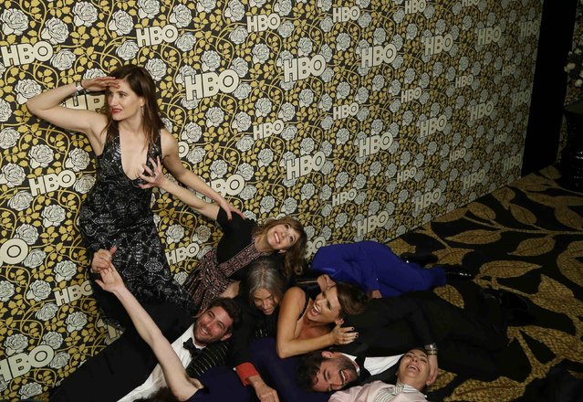 "The cast of ""Transparent"" pose in various positions as they arrive at The HBO Golden Globe After Party in Beverly Hills, California January 10, 2016. (Photo by Mario Anzuoni/Reuters)"