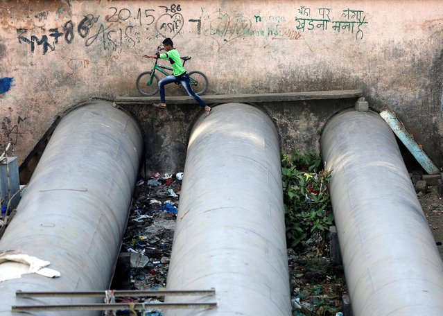 A man jumps from one water pipe to another as he moves his cycle on a wooden plank laid across the pipes in a slum area in Mumbai, India, December 8, 2016. (Photo by Shailesh Andrade/Reuters)