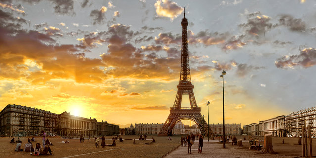 Eiffel Tower, Paris, after severe drought. (Photo by Joel Krebs/Caters News)
