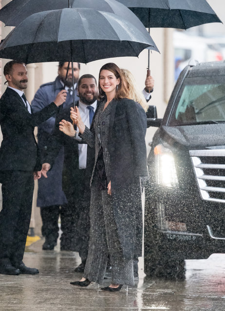 """Anne Hathaway is seen at """"Jimmy Kimmel Live"""" on January 14, 2019 in Los Angeles, California. (Photo by RB/Bauer-Griffin/GC Images)"""