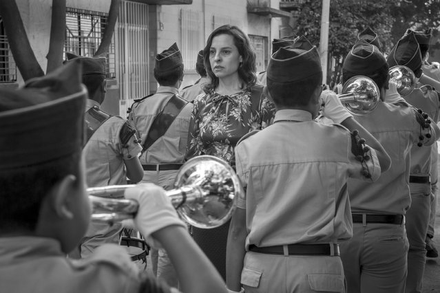 "This image released by Netflix shows Marina de Tavira, center, in a scene from the film ""Roma"", by filmmaker Alfonso Cuaron. On Tuesday, January 22, 2019, De Tavira was nominated for an Oscar for best supporting actress for her role in the film. The 91st Academy Awards will be held on Feb. 24. (Photo by Carlos Somonte/Netflix via AP Photo)"