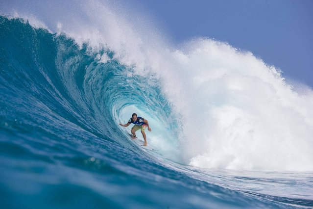 Makua Kai Rothmn of Hawaii rides the wave during the 2017 Volcom Pipe Pro at Pipeline and Backdoor on February 3, 2017 in Oahu, Hawaii. (Photo by Brian Bielmann/AFP Photo)