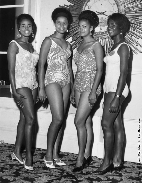 10th November 1967:  Four contestants from Africa line up at their London hotel before the 1967 Miss World beauty contest. From left to right, they are Miss Tanzania (Teresa Shayo), Miss Uganda (Rosemary Salmon), Miss Nigeria (Rosalind Balogun) and Miss Ghana (Araba Vroon)